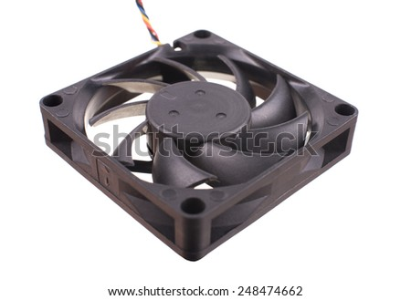 Image of computer fan isolated on white background - stock photo
