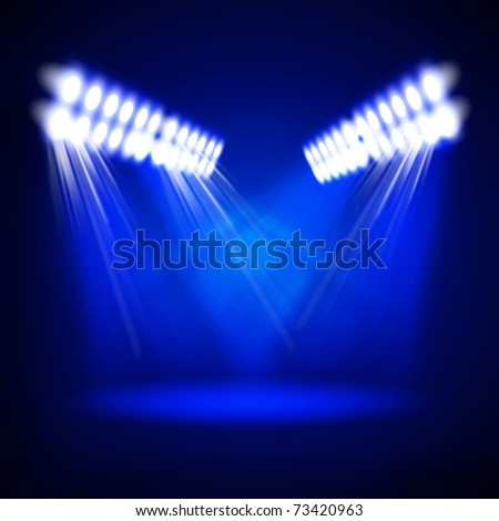 Image of concert lighting against a dark background. Illustration. - stock photo