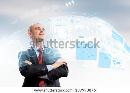Image of confident businessman smiling standing against hightech background - stock photo