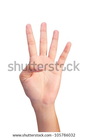 Image of Counting woman's left hands finger number (4 or 9)  isolated on white background - stock photo