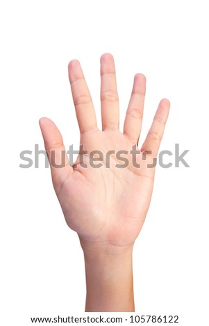 Image of Counting woman's left hands finger number 5 or10 isolated on white background