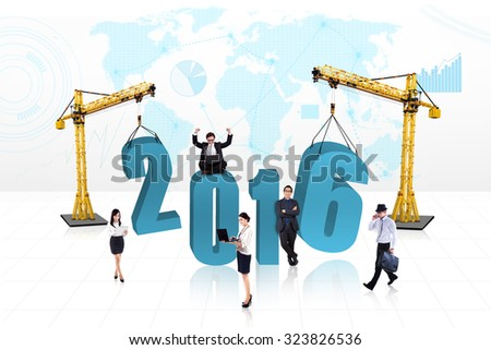 Image of creative businesspeople with numbers 2016 under construction - stock photo