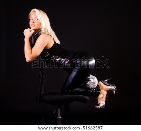 Image of cute dancer on black background - stock photo