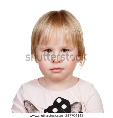 Image of cute serious girl, closeup portrait of adorable child isolated on white background - stock photo