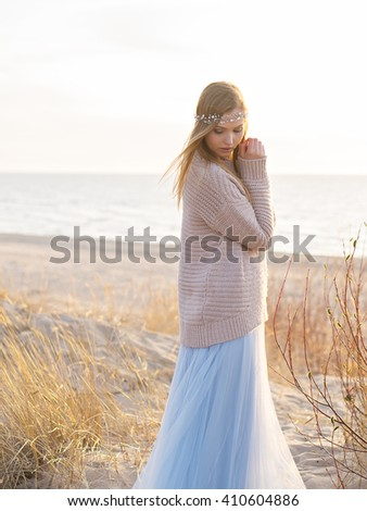 image of cute woman at the sea