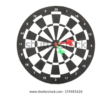 Image of darts board painted isolated on white - stock photo