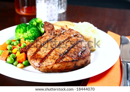 image of delicious of tender pork chop meal - stock photo