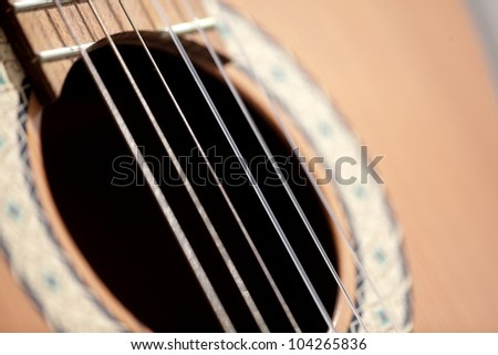 image of details of a guitar, close to a guitar image, strings of a guitar,