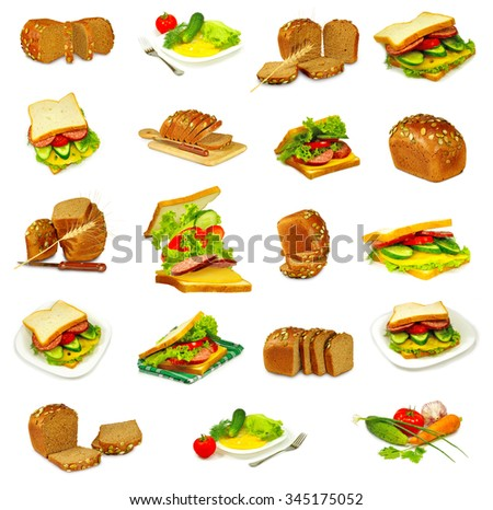 image of different breads and snacks closeup
