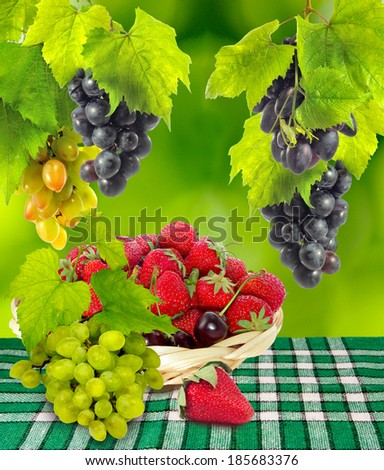 image of different tasty berries on the table - stock photo