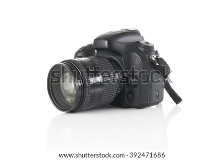 image of Digital camera isolated on white background - stock photo