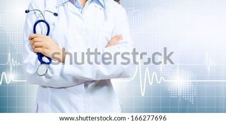 Image of doctor holding stethoscope against media background - stock photo