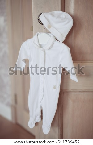 Image of dress for a little girl in a fashionable luxury interior