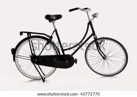 image of Dutch bicycle on white background - stock photo
