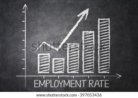 Image of employment rate chart with upward arrow on the chalkboard - stock photo