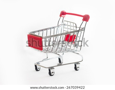 Image of empty shopping cart, isolated on white background - stock photo