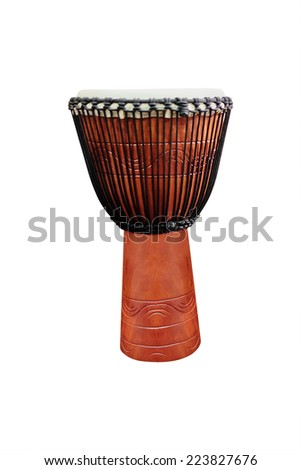 image of ethnic african drum under the white background - stock photo
