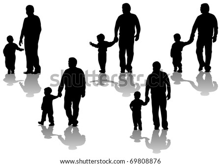 image of father and son. Silhouettes on white background - stock photo