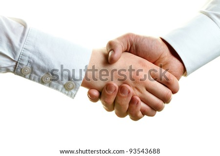 Image of female and male hands in a handshake - stock photo