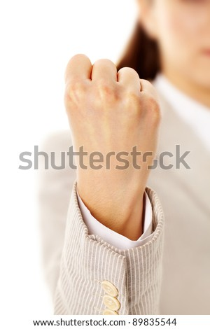 Image of female showing fist isolated over white - stock photo