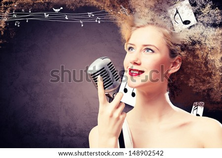 Image of female singer holding microphone against illustration background
