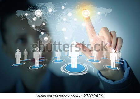 Image of female touching virtual icon of social network - stock photo