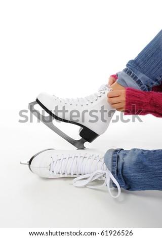 image of figure skate. Isolated on white - stock photo