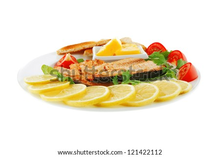 image of fillet salmon on white plate - stock photo