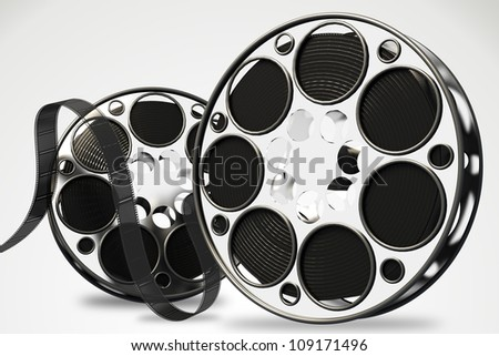 image of film reel rendered in 3d against white background - stock photo