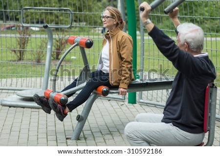 Image of fitness mature couple during outdoor recreation - stock photo