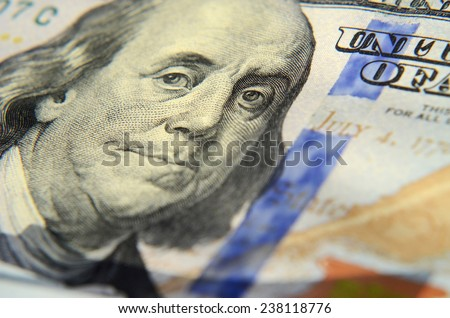 Image of Franklin on one hundred dollar banknote close up with tears as (inflation, savings, collapse, economic crisis, decline, collapse - concept) - stock photo