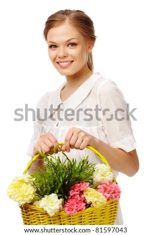 Image of fresh female holding basket with carnations - stock photo