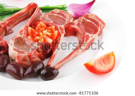 image of fresh raw ribs on plate
