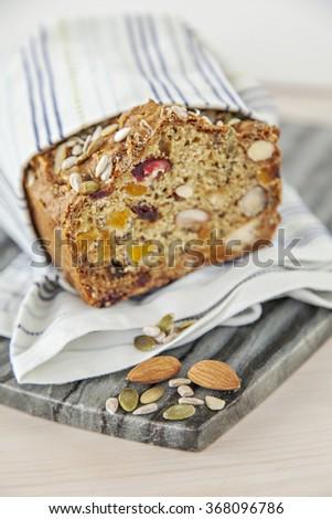 Image of freshly baked organic spelt bread.  - stock photo