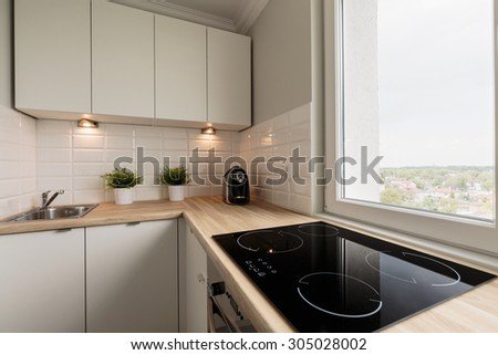 Image of functional light kitchen in new flat