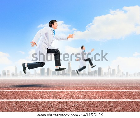 Image of funny doctors running at stadium