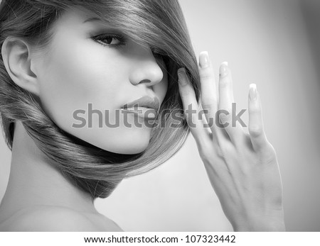 Image of girl with long beautiful hair - stock photo