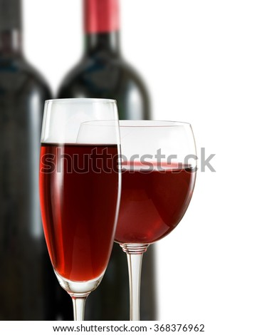 Image of glasses and bottles of wine closeup