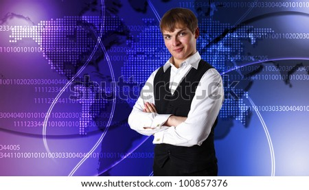 Image of global technology and internet communication - stock photo