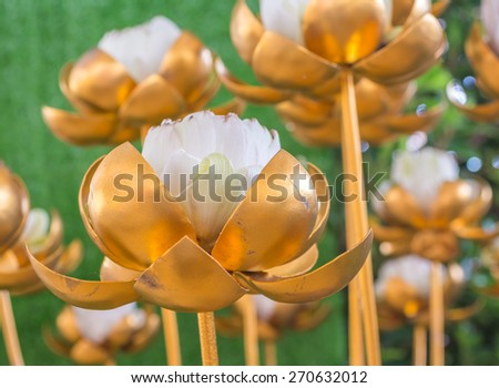 image of golden lotus made from bronze - stock photo