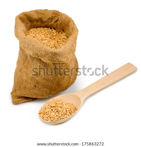 image of grain in sack and spoon on a white background