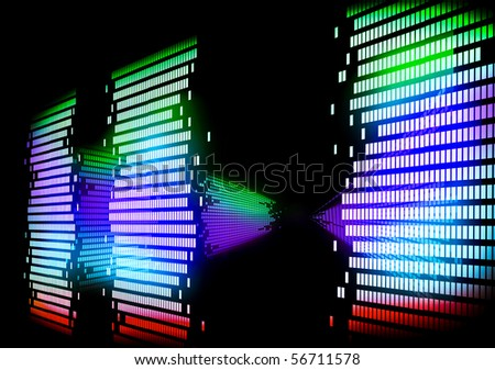 image of graphic 3d equalizer - stock photo