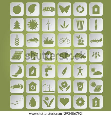 Image of green ecological icons on papers