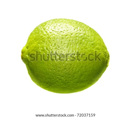 Image of green lime isolated over white background - stock photo