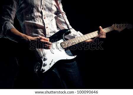 Image of guitar player - stock photo