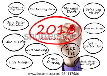 Image of hand using marker to write new year resolutions of 2016, isolated on white background - stock photo