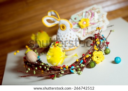 Image of handmade decoration elements on light copy space background - stock photo
