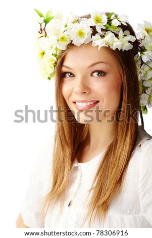 Image of happy female wearing floral wreath on head - stock photo