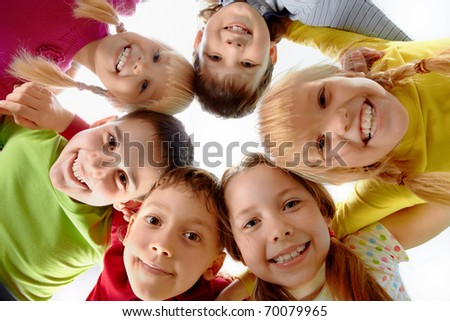 Image of happy kids representing youth and fun - stock photo