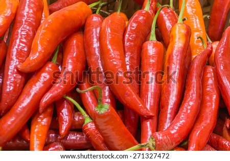 image of harvested red chili peppers. - stock photo